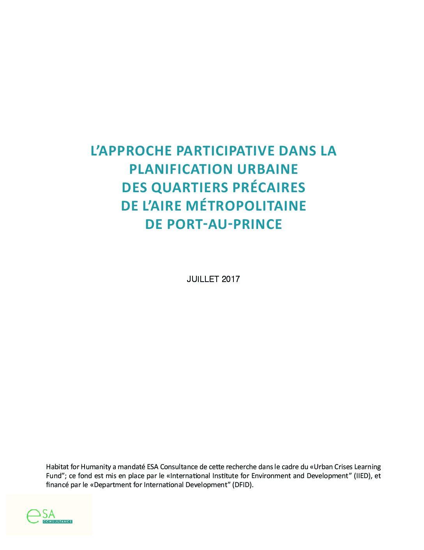 L'approche participative dans la planification urbaine des quartiers précaires de l'aire métropolitaine de Port-au-Prince